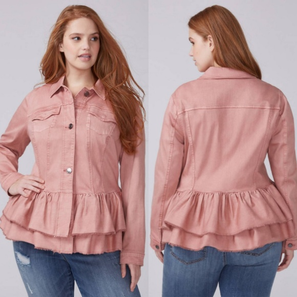 dc3928383ce Lane Bryant Pink Double Ruffle Denim Jacket NWT